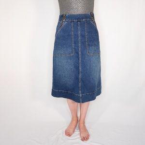 KATE SPADE Denim Jean Deep Blue A-Line Midi Skirt